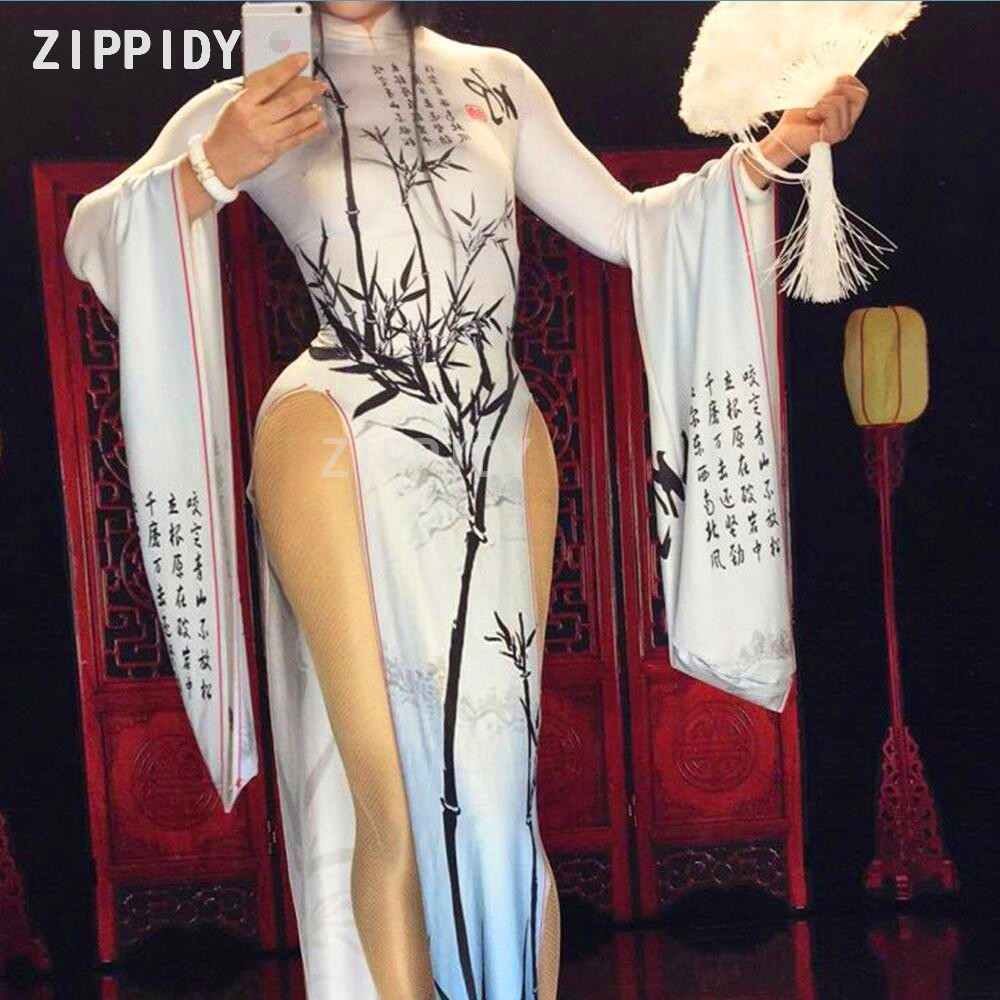 Chinese Character Bamboo Printed Sexy Dress Nightclub Ds Female Singer Costume Prom Celebrate Outfit Women Dance
