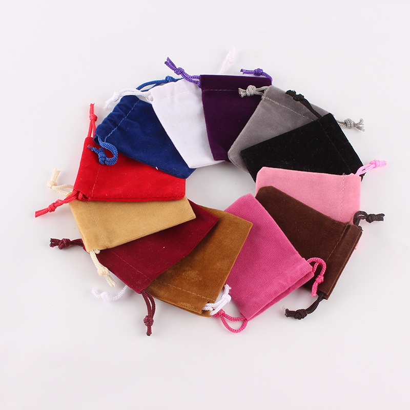 100Pcs/lot 5*7cm High Quality Custom Logo Printed Drawstring Bag Velvet Jewelry Pouch Christmas Gift Bag Storage Bag