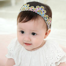 Fashion Gold Embroidery Headband Baby Headbands Girls festival turban Toddler Infant Headpiece peacock Hair Accessories HB410S(China)