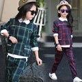 Nueva Primavera Muchacha de Los Niños Ropa Para Niños Camisetas Pantalones A Cuadros 2 unids Set Trajes