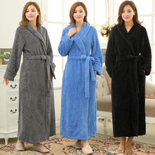 New Lovers Winter Lounge Warm Long Thick Bathrobe Women Men Kimono Bath Robe Coral Fleece Flannel Dressing Gown Bridesmaid Robes cheap RUILINGSHA Polyester Solid Full Ankle-Length Lovers Extra Long Warm Robes