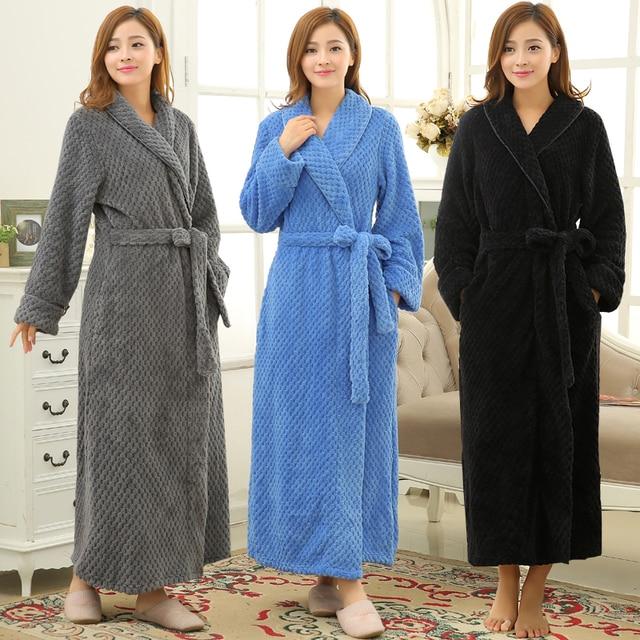 c74e1d0c20 New Lovers Winter Lounge Warm Long Thick Bathrobe Women Men Kimono Bath  Robe Coral Fleece Flannel Dressing Gown Bridesmaid Robes