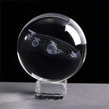 6 см 3D солнечная система хрустальный шар гравированная Миниатюрная модель планет Сфера Стеклянный шар орнамент украшения дома подарки/C