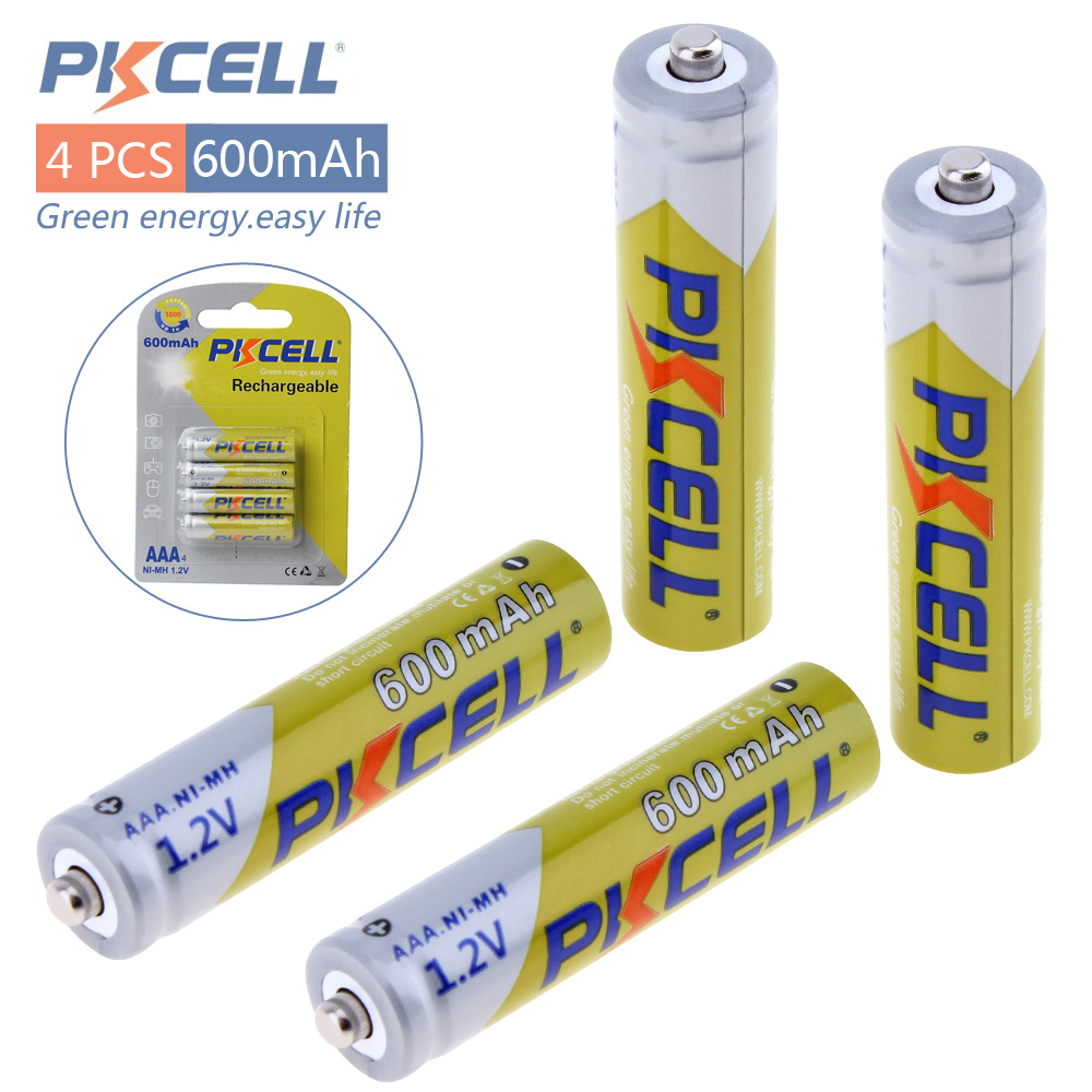 все цены на  4pcs! Pkcell 1.2V Ni-Mh AAA Rechargeable Battery 600mAh Real Capacity NiMh AAA Batteries Set with 1000 Cycle for LED Flashlight  онлайн