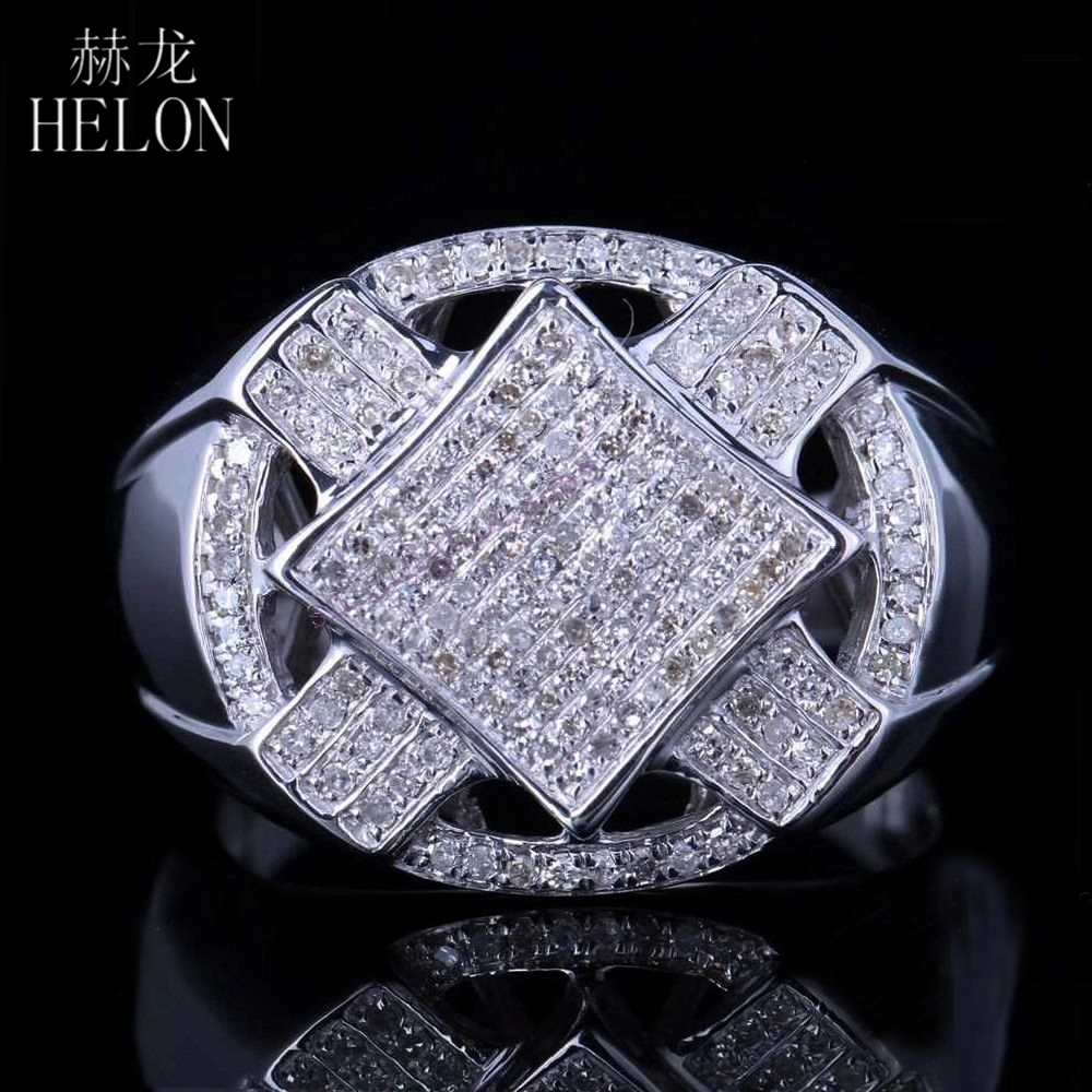 HELON 925 Sterling Silver Brilliant 0.6ct 100% Genuine Natural Diamonds Engagement Wedding Mens Ring Band Party Jewelry