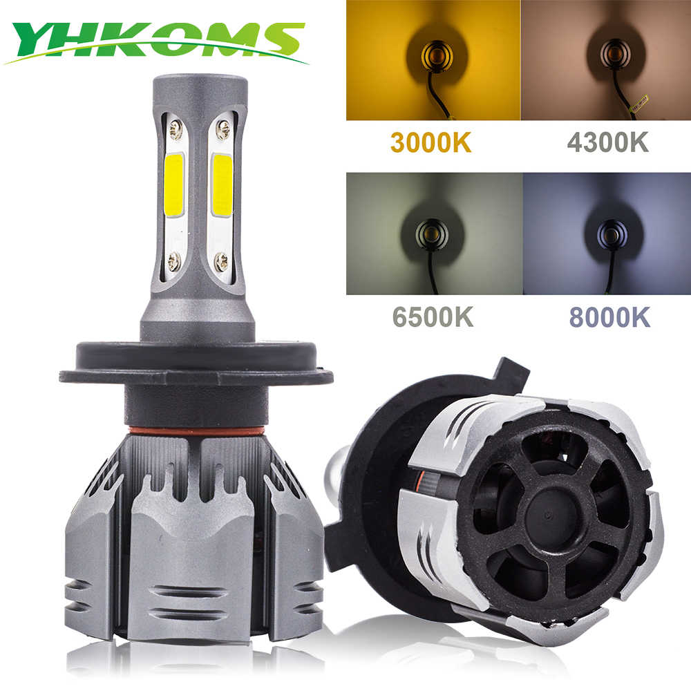 YHKOMS Car Light Bulbs LED H4 H7 H11 LED H1 H3 H8 H9 9005 9006 880 881 H27 3000K 4300K 6500K 8000K Car Headlight Fog Bulb 12V