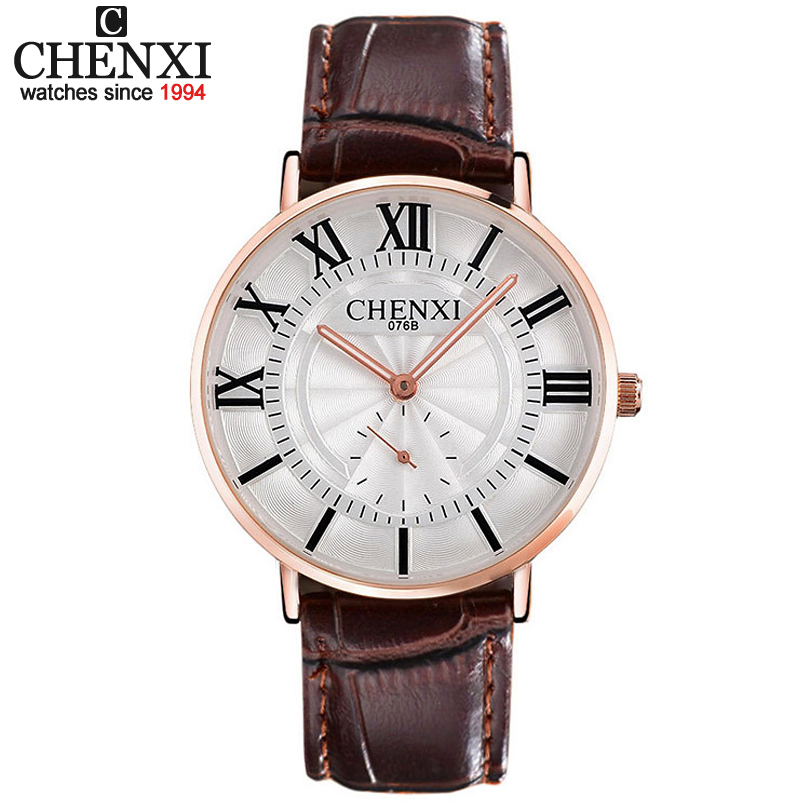CHENXI 076B Luxury Brand Watches Male fashion casual quartz watch Classic genuine Leather Strap men wristwatch Relogio Masculino