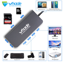 8 w 1 huby USB portu thunderbolt 3 USB 3.0 gniazda SD i TF, Super Speed kompaktowy piasta dla PC laptopa MacBook 4K HDMI typ C