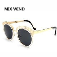 Mix Wind Women Sunglasses Retro Cat Eyes Metal Driving Sun Glasses Brand Designer UV400 Oculos De