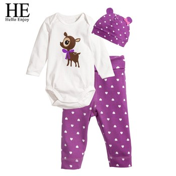 HE Hello Enjoy Baby rompers long sleeve cotton baby infant autumn Animal newborn baby clothes romper+hat+pants 3pcs clothing set 2