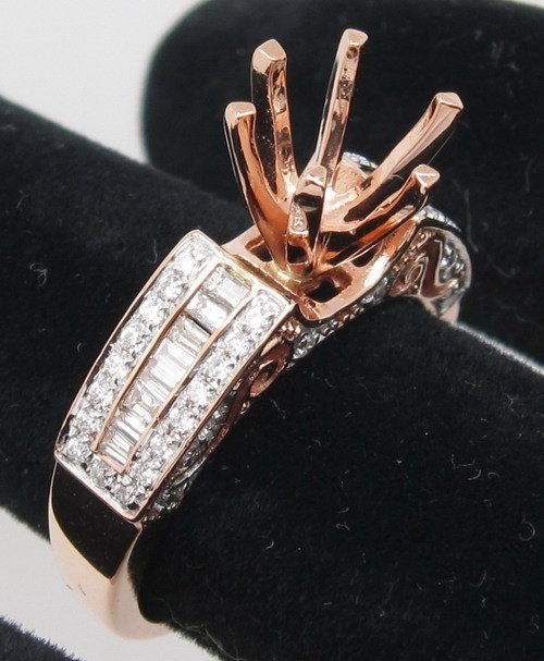 8.5mm Round Diamond 14K Rose Gold Ring