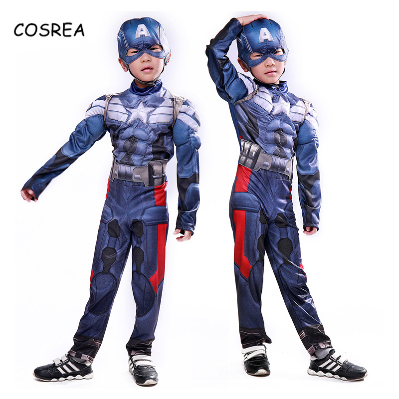 COSREA Captain America The First Avenger Steve Rogers Baby Kids Cosplay Costumes Mask Superhero Clothing Shield Gloves Halloween