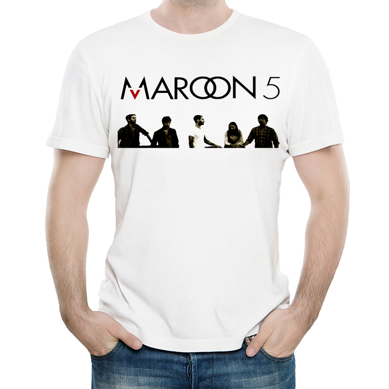 Maroon 5 T Shirt White Color Mens Fashion Print Short Sleeve Maroon 5 Logo T-shirt Tops Tees tshirt Band T-shirt