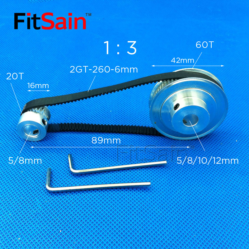 FitSain-2GT 20T : 60T Teeth Aluminum Alloy Pulley 1 : 3 Reduction Ratio Drive Synchronous Wheel Center Hole 5/6/6.35/8/10/12mm