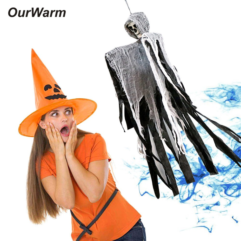 OurWarm 100*60 centímetros Halloween Pendurado Fantasma DIY Decoração Casa Assombrada Adereços Crânio Diabo Horror Assustador Halloween Decorações