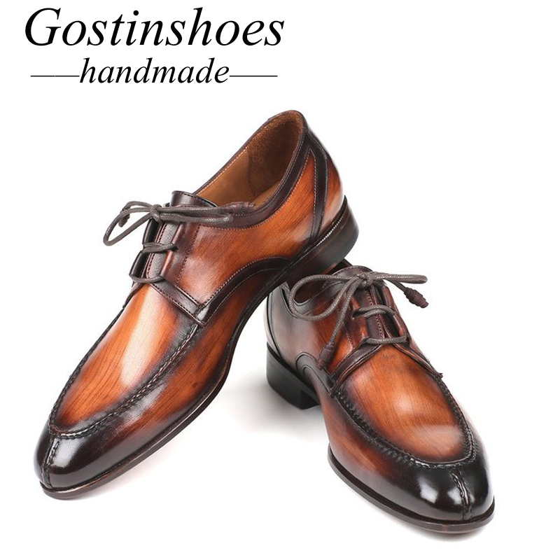 GOSTINSHOES HANDMADE Goodyear Welted Men 39 s Dress Oxfords Ghillie Lacing Brown Burnished Cow Leather Pointed Toe SCZ022 in Formal Shoes from Shoes