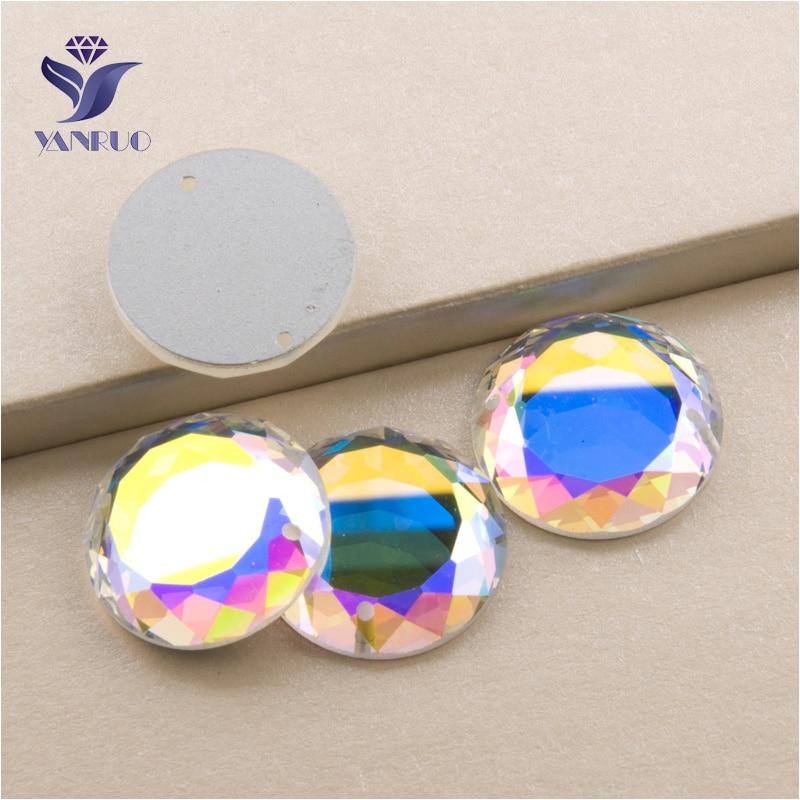 Круглые стеклянные камни YANRUO AB, для шитья, кристалл страз, пришивные стразы с плоским основанием, аксессуары для одежды, 2010