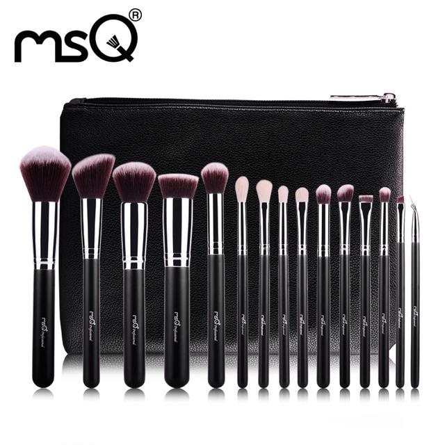 MSQ 15 unids Pinceles de Maquillaje Profesional de Maquillaje Cepillos de Pelo Sintético de Alta Calidad Con Cuero de LA PU Caso De La Belleza