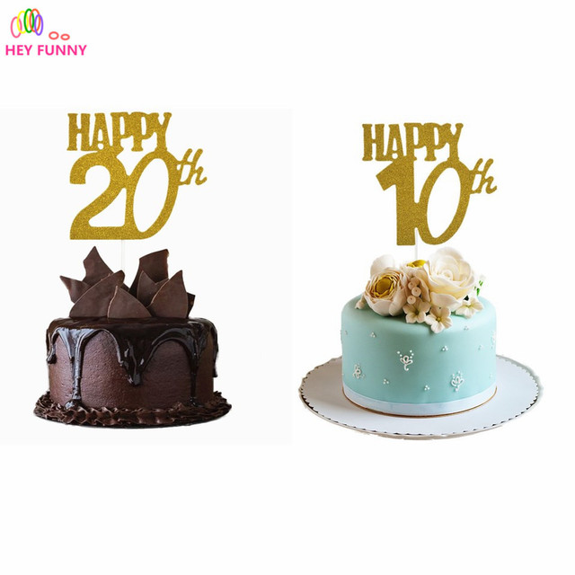 1pc Gold Happy10th 20th Years Birthday Cake Toppers Party Decor Baby Shower Cupcake Topper Anniversary