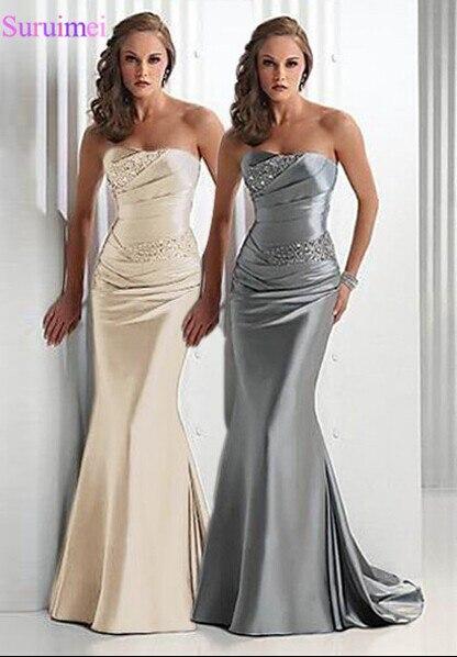 Silver Gray Bridesmaid Dresses Sweetheart Corset Lace Up Satin Champagne Long Brides Maid Dress Maid Of Honor Vestidos De