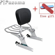 лучшая цена Chrome Motorcycle Sissy Bar Detachable Passenger Backrest Cushion Pad Luggage Rack for Harley Softail Deluxe FLSTN 2005-2015