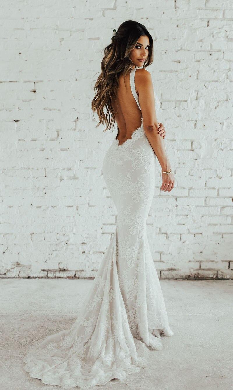 Image 5 - LORIE Lace Mermaid Wedding Dress Sexy V Neck Bride Dress Open Back Robe de soiree Elegant Boho Wedding Gowns 2019-in Wedding Dresses from Weddings & Events