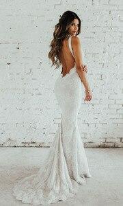 Image 5 - LORIE Lace Mermaid Wedding Dress Sexy V Neck Bride Dress Open Back Robe de soiree Elegant Boho Wedding Gowns 2019