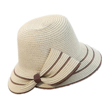New fashionable sun hat woman summer bow grass hat beach headdress hat 4Colors forefoot pieces femme gift shade