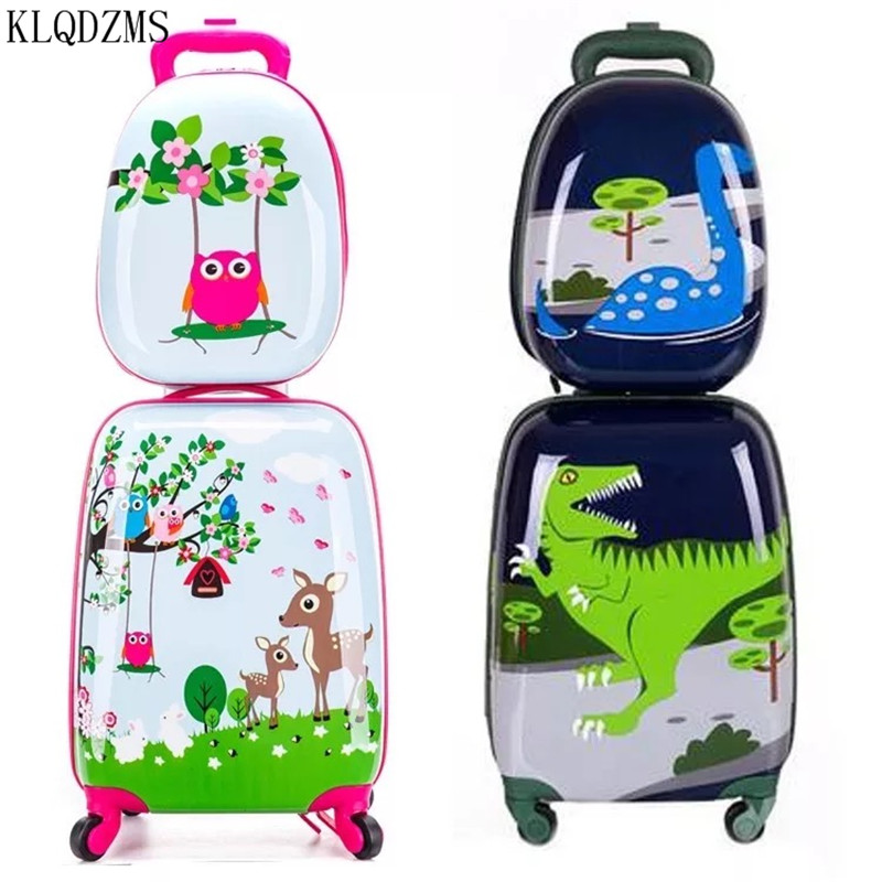 KLQDZMS 18inch  Cute Cartoon Children Rolling Luggage Set Spinner Suitcase Wheels Student Trolley Kids Carry on Travel Bag