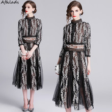 Mesh embroidery 2019 spring and autumn new fashion elegant dress stand collar three quarter sleeve ladies party vestidos dress все цены