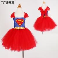Superman Batgirl Girls Tutu Dress Cosplay Costumes Girl Kids Dress Knee Length Fluffy Birthday Halloween Party