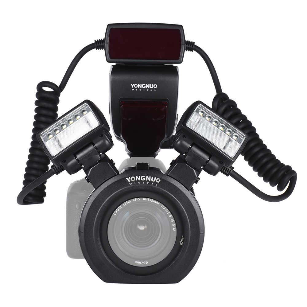 YONGNUO YN24EX E-TTL Вспышка Speedlite 5600 к с 2 шт. головки вспышки и 4 Адаптер кольца для Canon EOS 1Dx 5D3 6D 7D 70D камеры