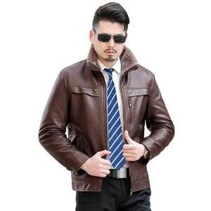 Image 4 - Inverno Caldo di Spessore Uomini Cappotto di pelliccia collare Giubbotti e cappotti marchio di abbigliamento jaqueta masculino inverno della tuta sportiva di cuoio Giubbotti parka