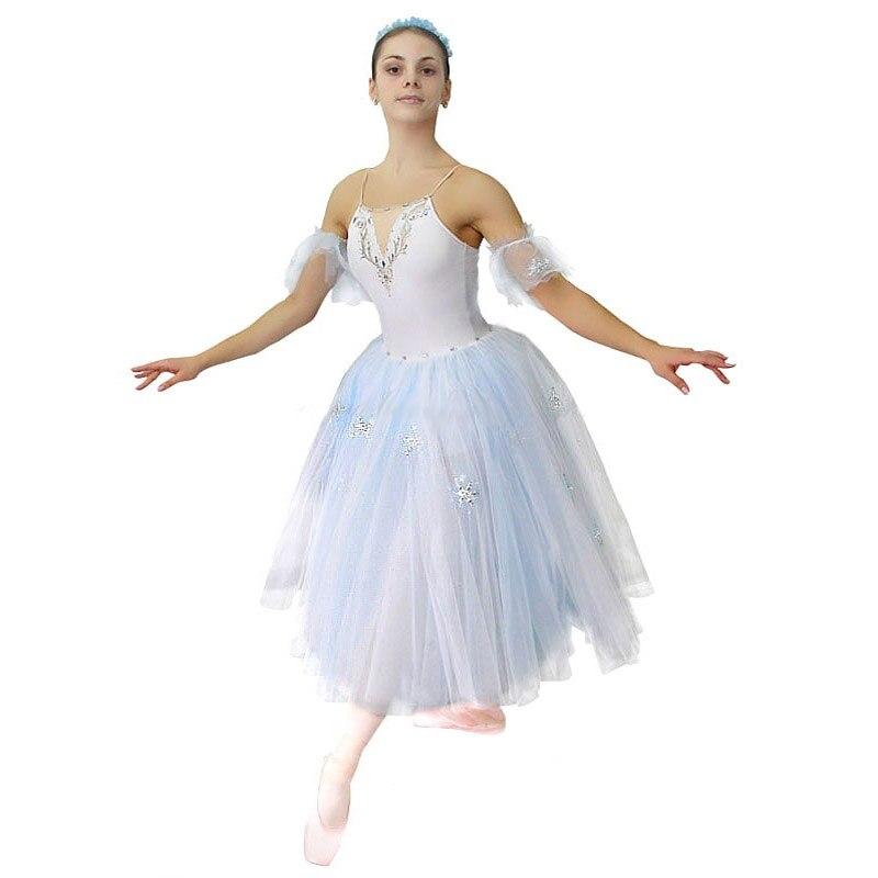 Robes de Ballet doux Elsa reine des neiges, robe de ballerine de filles pour les Costumes de Ballet jupe de Ballet avec la décoration de neige scintillante HB879