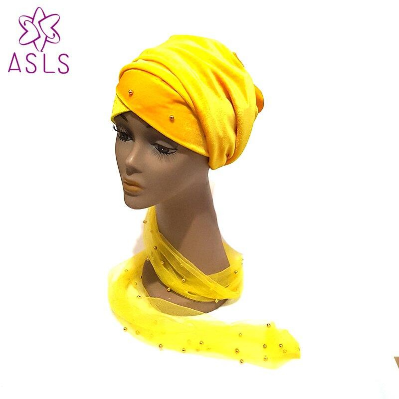 Freies Dhl Verschiffen Neue Ankunft Masse Gold Perlen Mesh Samt Kopf Wickeln Nigeria Lange Turban Frauen Hijab Kopf Doppel Hände Schal Heller Glanz