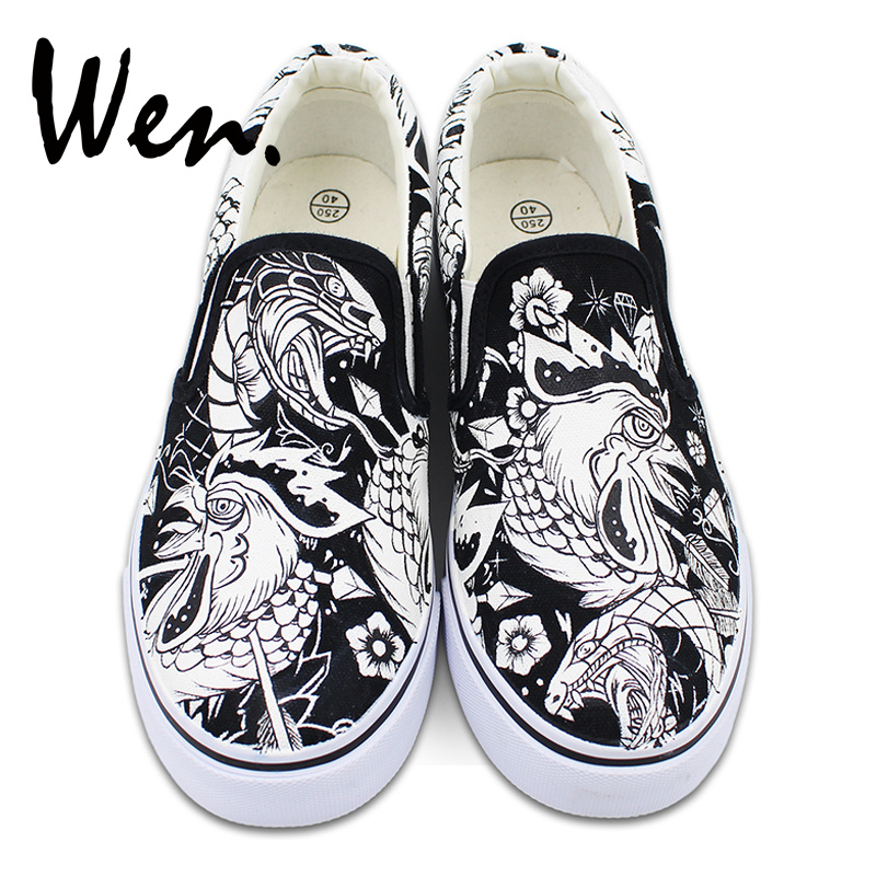 Wen Shoes Canvas Flats Slip on Hand Painted Sneakers Original Design Cock Rooster Snake Flowers Skateboarding Flats