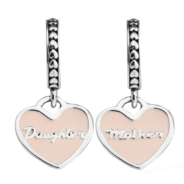 Fits Pandora Bracelets 925 Sterling Silver Jewelry Mother Daughter Hearts Soft Pink Enamel Original