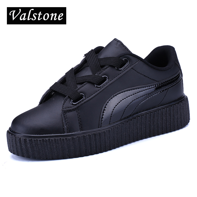 Valstone Autumn Women platform Shoes Casual leather creepers Two kinds of lace-up fashion Flats breathable loafers basket femme fashion women flats summer leather creepers platform sneakers causal shoes solid basket femme white black