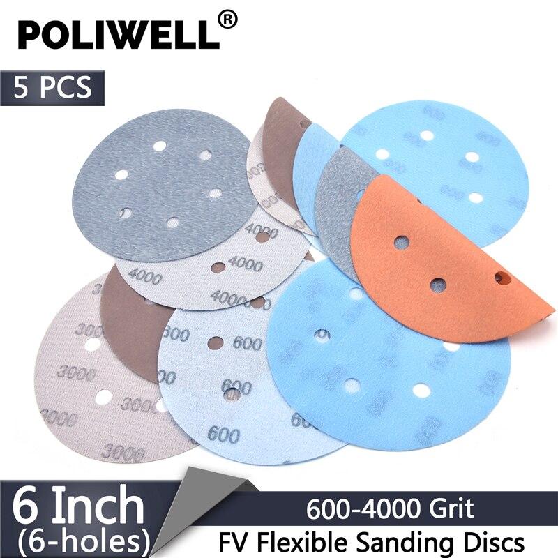 POLIWELL 5Pcs 150 mm Multi-holes FV Soft Sanding Discs 600~4000 Grit Waterproof Sandpaper for Wet/Dry Polishing Paint Decorating