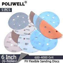 POLIWELL 5Pcs 150mm Multi-holes FV Soft Sanding Discs 600~4000 Grit Waterproof Sandpaper for Wet/Dry Polishing Paint Decorating стоимость