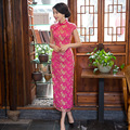 Chinese Traditional Women Vintage Lace Embroidered Cheongsam Long Qipao Oriental Dresses Classic Elegant Formal Evening