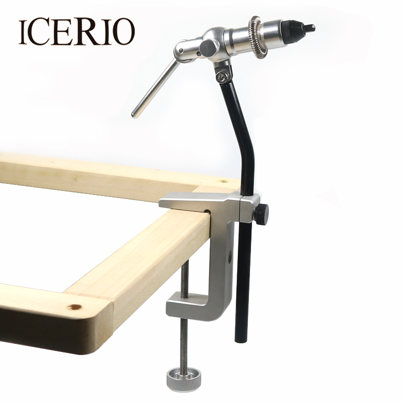 ICERIO 1Set Rotary Fly Tying Vise C-Clamp With Heavy Duty Base Hook Tool for Making Flies Fly Fishing Tools 1 pcs fly tying hook device fly fishing hook vise in stock clamp style fly fishing fly tying vise