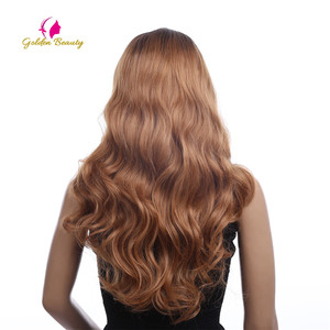Image 4 - Golden Beauty 26 inches Long Loose Wave Wig Side Part Ombres Synthetic Hair Lace Front Wigs for Women