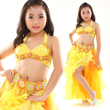 Belly Dance Costume Set for Children 3pcs Bra Belt and Skirts Kids Stage Performance Belly Dancing Clothes Oriental Outfit Girls 2018 performance belly dancing egyptian costumes oriental dace bra belt skirt belly dance 3pcs costume set