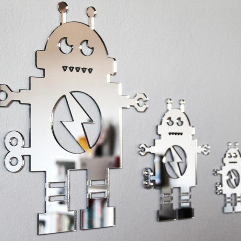 Funlife Enfants chambre miroir de mur autocollants 3D robot en trois dimensions cristal creative acrylique stickers muraux MS361127