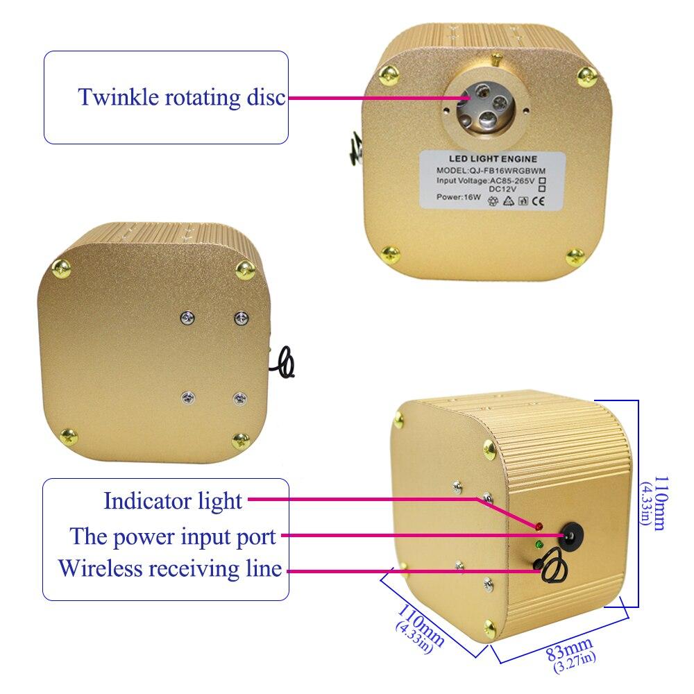 Kit de lumière sensorielle optique de fibre d'étincelle de scintillement de 16 W RGBW 450 pièces * 0.75mm * 4 M pour le rideau de point d'éclair, cascade, chambre sensorielle d'enfants - 4