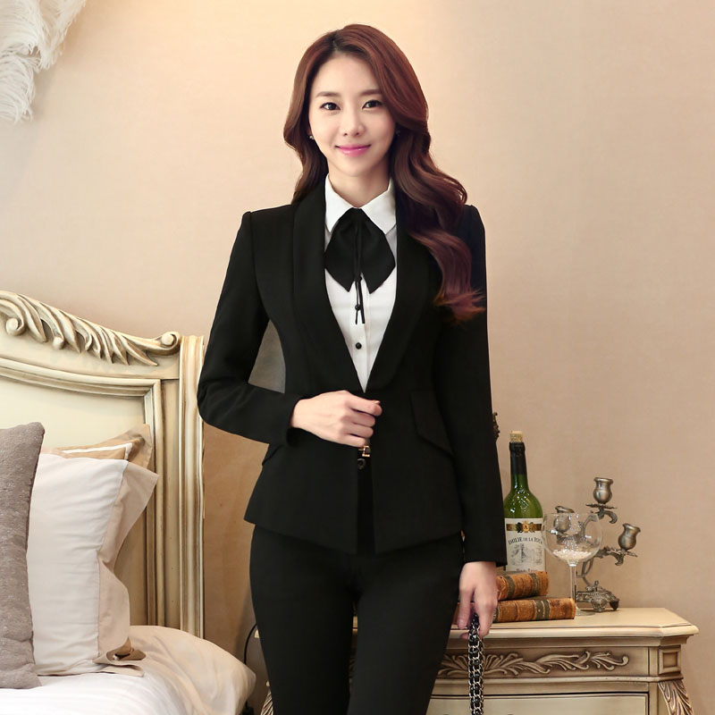 Plus Size Formal Professional 2016 Autumn And Winter Formal Female Pantsuits Blazer + Pants Ladies Trousers Set Pants Suits