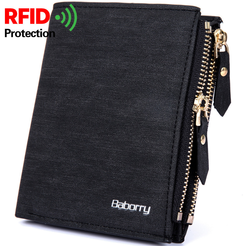 BABORRY RFID Theft Protection Men Wallets Famous Brand Wallet Male Zipper Money Purses Business Men Wallet Carteira Masculina