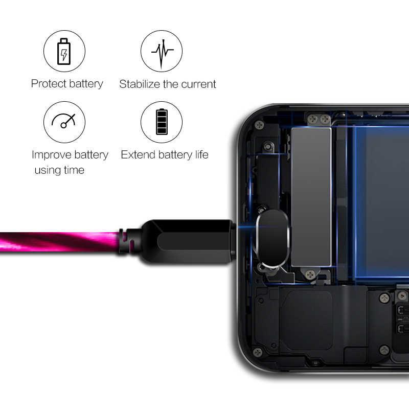 Câble USB illuminé Power4 pour Micro trois connecteurs en option pour allumer les câbles lumineux/Micro USB-C
