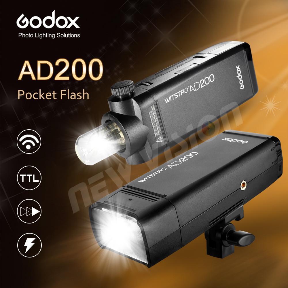 Prix pour En Stock! GODOX AD200 TTL 2.4G HSS 1/8000 s Poche Flash Lumière Double Tête 200Ws avec 2900 mAh Batterie Au Lithium lampe de Poche Flash
